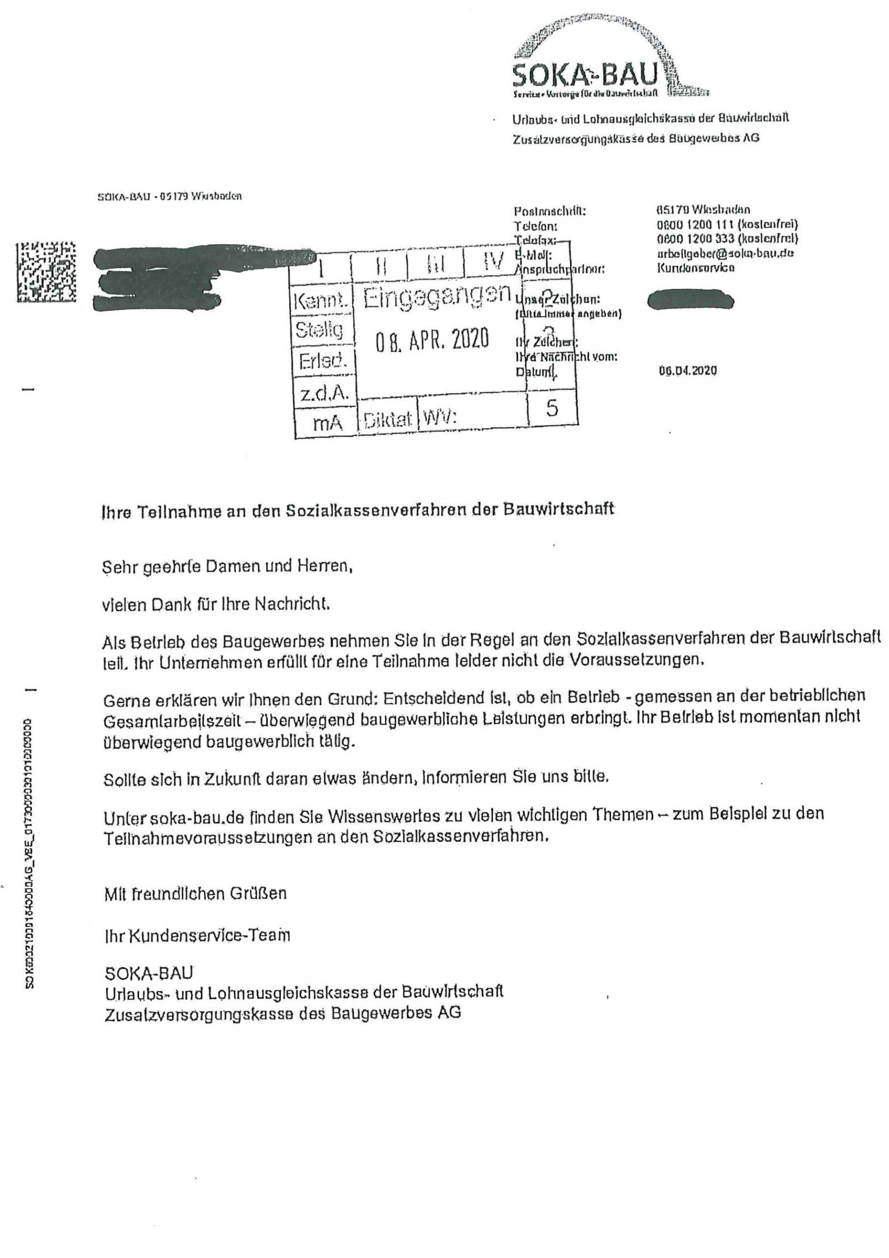 """SOKA Bau Pflicht """"leider"""" nicht erfüllt: Dieses Schreiben der SOKA Bau möchten Sie auch gerne erhalten"""